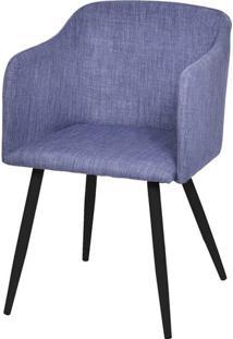 Poltrona Bela Linho Cor Jeans Azul Base De Metal Com Pintura Preta - 47225 - Sun House