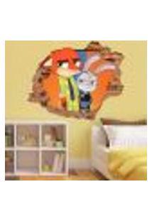 Adesivo De Parede Buraco Falso 3D Infantil Zootopia 02 - Eg 100X122Cm