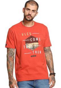 Camiseta Manga Curta Vlcs 18510 Masculina - Masculino-Laranja
