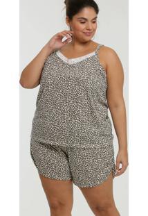 Pijama Feminino Animal Print Plus Size Alças Finas