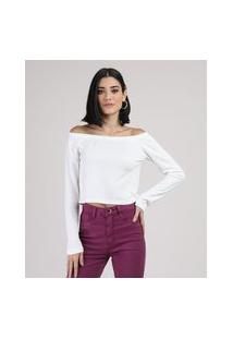 Blusa Feminina Cropped Ombro A Ombro Texturizada Manga Longa Branca