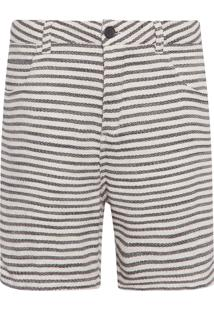 Bermuda Masculina Rustic Stripes - Off White