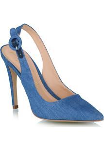 Scarpin Em Jeans Azul