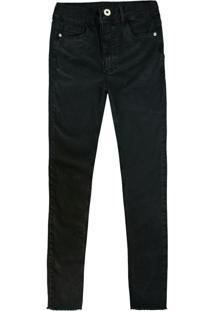 Calça Preta Push Up Em Sarja Flex Jeans Feminina