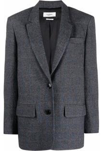 Isabel Marant Étoile Blazer De Tweed Com Padronagem Xadrez - Cinza