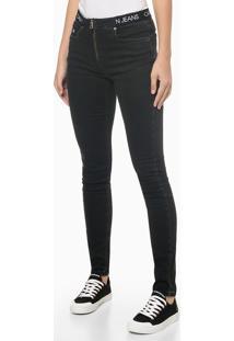 Calça Jeans Black Elástico Personal. Cós - Preto - 34