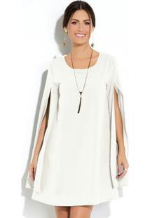 Vestido Clássico Branco Manga Capa Ampla