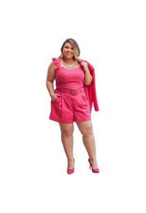 Top Delphina Babadinho Linho Pink - Plus Size
