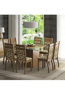 Conjunto Sala De Jantar Mesa E 8 Cadeiras Louise Madesa Rustic/Floral Bege