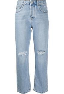 Msgm Calça Jeans Reta Cintura Alta - Azul