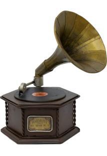 Enfeite Retrô Minas De Presentes Gramofone Marrom - Kanui