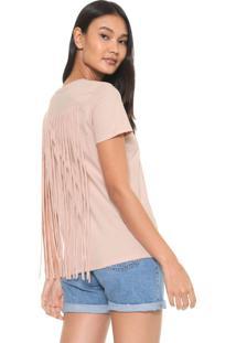 Camiseta Calvin Klein Franjas Bege
