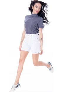 Bermuda Sisal Jeans Meia Coxa Branca