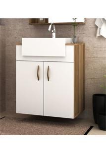 Gabinete Banheiro Suspenso Nogal E Branco Mdf Lilies Mã³Veis - Branco/Marrom - Dafiti