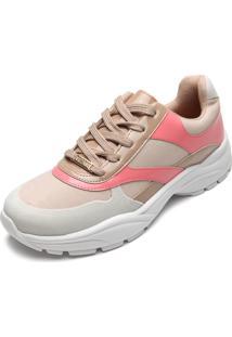 Tênis Vizzano Dad Sneaker Chunky Bege/Rosa