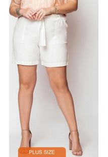 Shorts Feminino Plus Size Bege