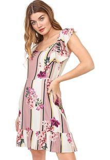 Vestido Enfim Curto Floral Rosa/Off-White