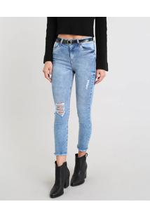 2398c527d R$ 99,99. CEA Calça Jeans Feminina Cropped Destroyed Com Cinto Azul Médio