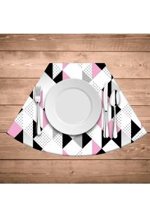 Jogo Americano Para Mesa Redonda Wevans Triângulos Rosa