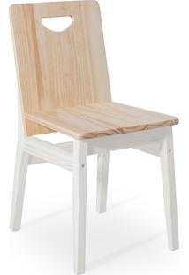 Cadeira De Jantar De Madeira Maciça Tucupi 40X51X81Cm - Acabamento Stain Branco E Natural