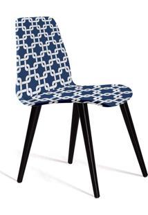 Cadeira Eames Tecido Pe Madeira Daf Azul/Branco