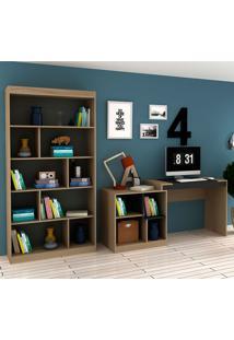 Escrivaninha E Estante Com 6 Prateleiras Para Escritório-Ho-2965-Hecol - Avela / Onix
