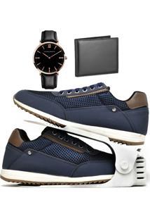 Kit Sapatênis Sapato Casual Com Organizador, Carteira E Relógio King Dubuy 1100Db Azul - Kanui