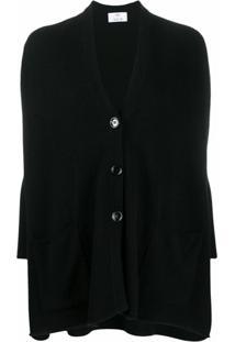Allude Cardigan Oversized Com Gola V - Preto