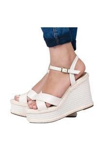 Sandália Feminina Anabela Salto Alto Corda Confortável Leve Off White Eleganteria