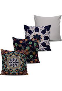 Kit 4 Capas Almofada Estampa Floral Marinho 45X45Cm - Multicolorido - Dafiti