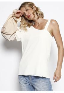 Blusa Assimétrica Com Franzidos- Off White & Bege- Mmorena Rosa