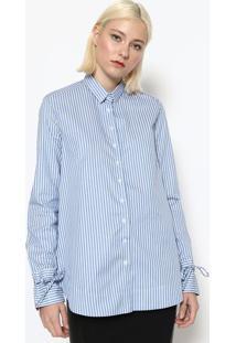 Camisa Listrada Com Botãµes - Azul & Brancacalvin Klein