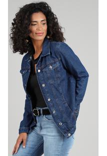 Jaqueta Jeans Feminina Longa Com Bolsos Azul Escuro
