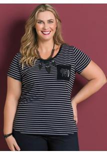 Blusa Listrada Com Bordado Marguerite Plus Size