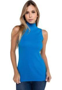 Blusa Latifundio Gola Alta Latifundio Feminina - Feminino-Azul