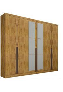 Guarda-Roupa Casal Com Espelho 6 Portas E Gavetas 6 Macau-Novo Horizonte - Freijo Dourado
