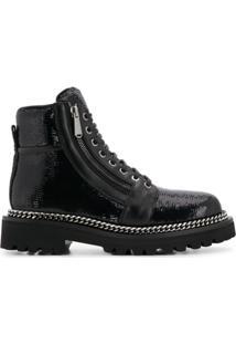 Balmain Ankle Boot De Couro - Preto