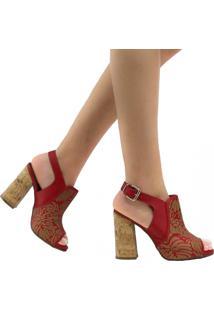 Sandália Zariff Shoes Casual Fivela Vermelho