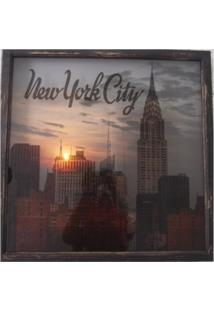 Quadro Led Estampa New York 60X60 Cm - Marrom - Dafiti