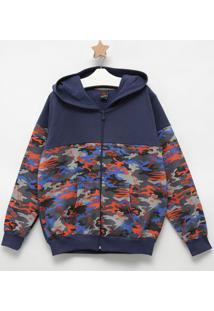 Jaqueta Camuflada Com Bolsos- Azul Marinho & Vermelha