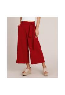 Calça Feminina Pantacourt Com Faixa Vermelho