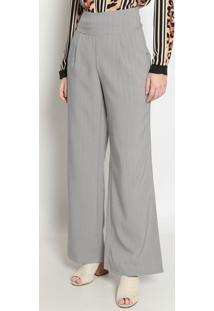 Calça Pantalona Listrada - Cinza- Operateoperate
