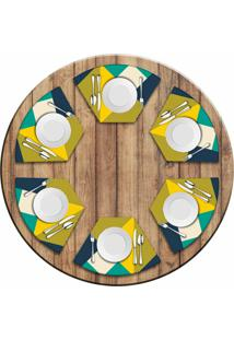 Jogo Americano Love Decor Para Mesa Redonda Wevans Abstract Yellow Kit Com 6 Pçs