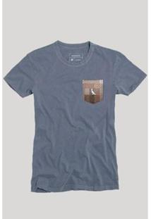 Camiseta Bolso Xadrez Quadrilha Reserva Masculina - Masculino-Cinza