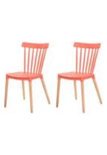 Kit 2 Cadeiras Ellen Windsor Polipropileno Coral Base Madeira Sala Cozinha Jantar