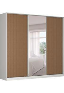 Guarda-Roupa Casal Com Espelho Tunas I 3 Pt 3 Gv Branco E Marrom