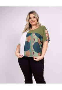 Blusa Recorte Almaria Plus Size Peri Verde