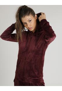 Blusão Feminino Esportivo Ace Em Plush Com Capuz Vinho