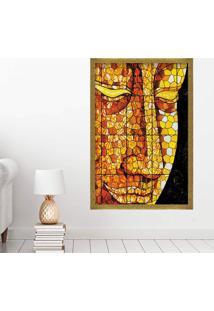 Quadro Love Decor Com Moldura Buddha Em Mosaico Dourado Médio