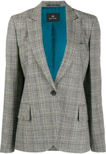 Ps Paul Smith Blazer Xadrez Com Abotoamento Simples - Preto